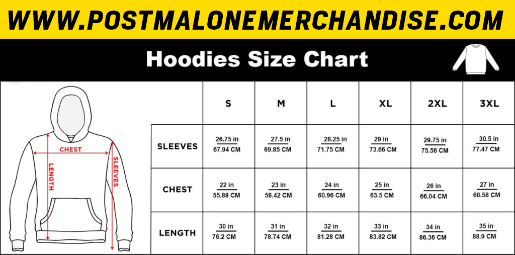 Post Malone Hoodie Size Chart