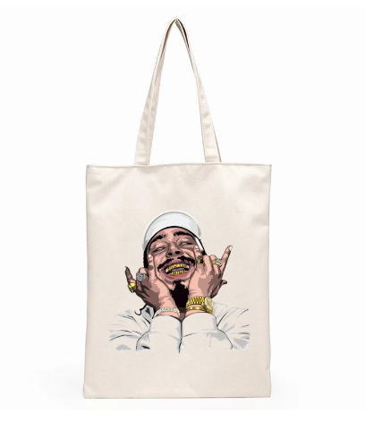 Post Malone Hip Hop print casual large capacity canvas bag